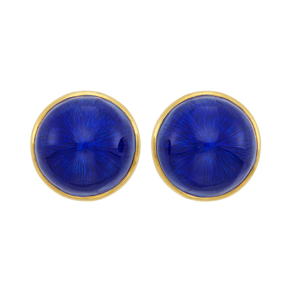 Pair of Gold and Blue Enamel Earclips, France