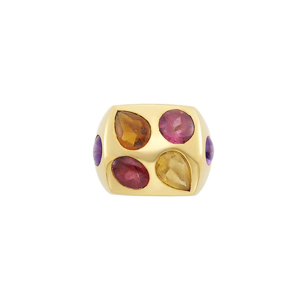Gold and Cabochon Colored Stone Ring, Chanel, France