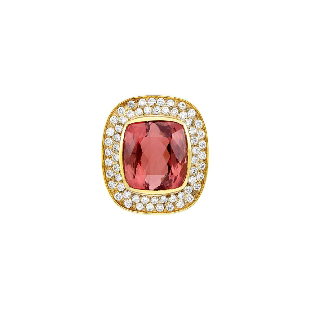 Gold, Pink Tourmaline and Diamond Ring