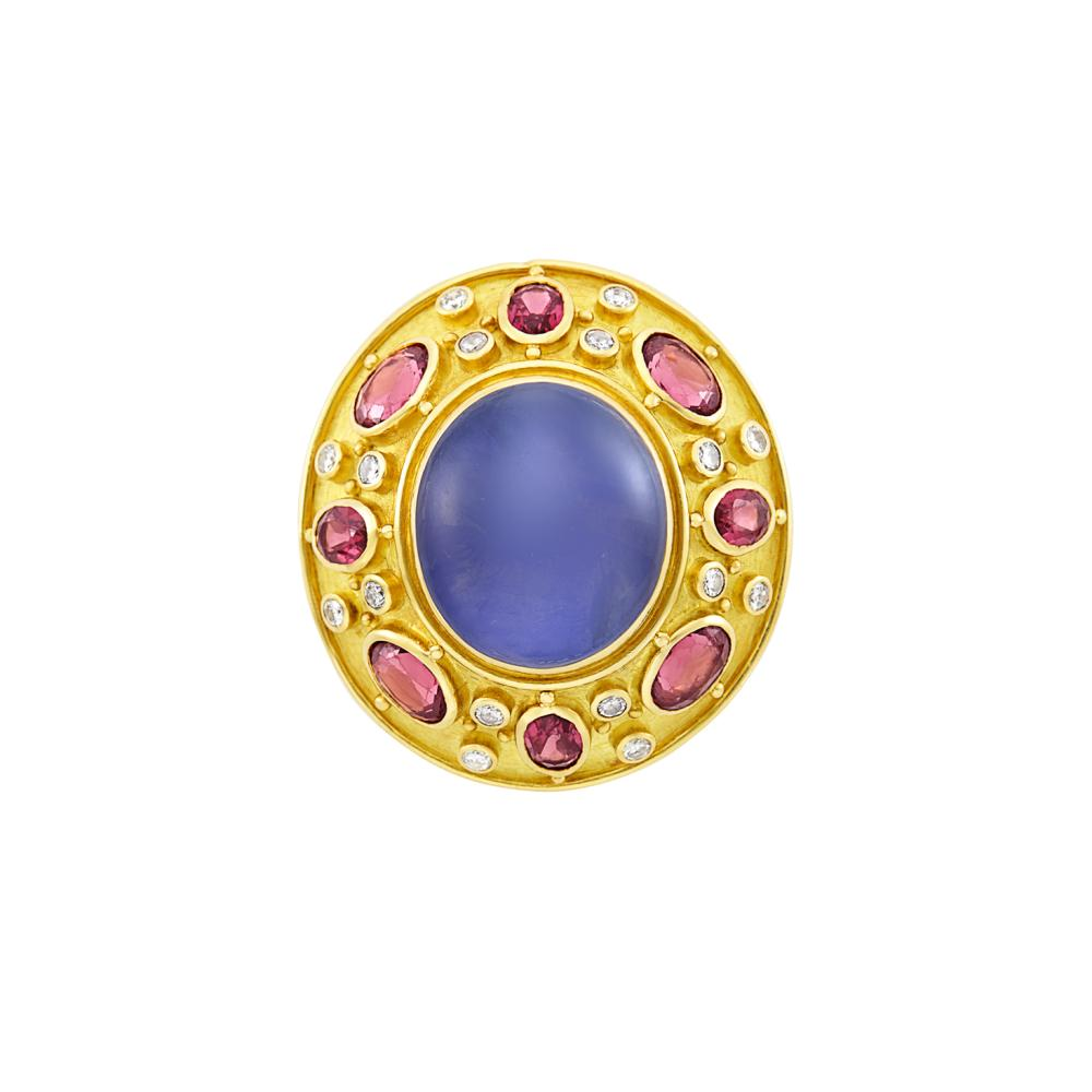 Gold, Star Sapphire, Garnet and Diamond Ring, Elizabeth Gage