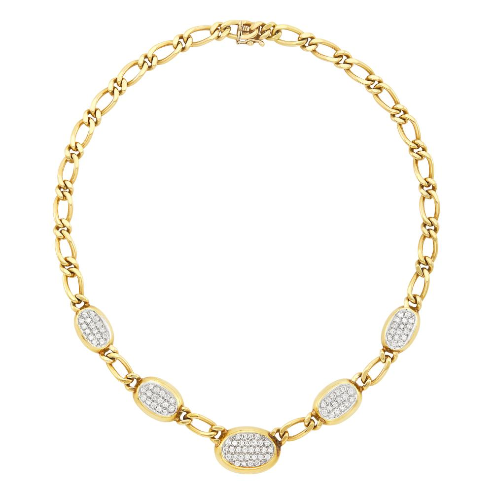 Two-Color Gold and Diamond Link Necklace