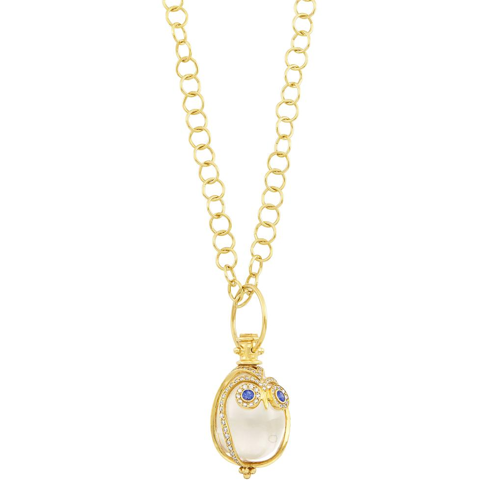 Gold, Rock Crystal, Diamond and Sapphire Owl Pendant with Chain Necklace, Temple St. Clair