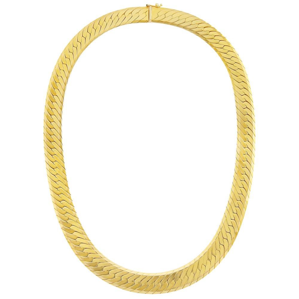 Gold Herringbone Link Necklace