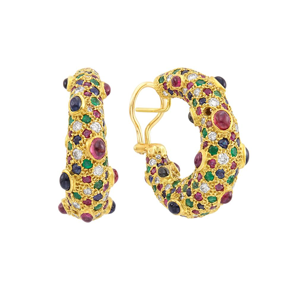 Pair of Gold, Diamond and Gem-Set Hoop Earrings