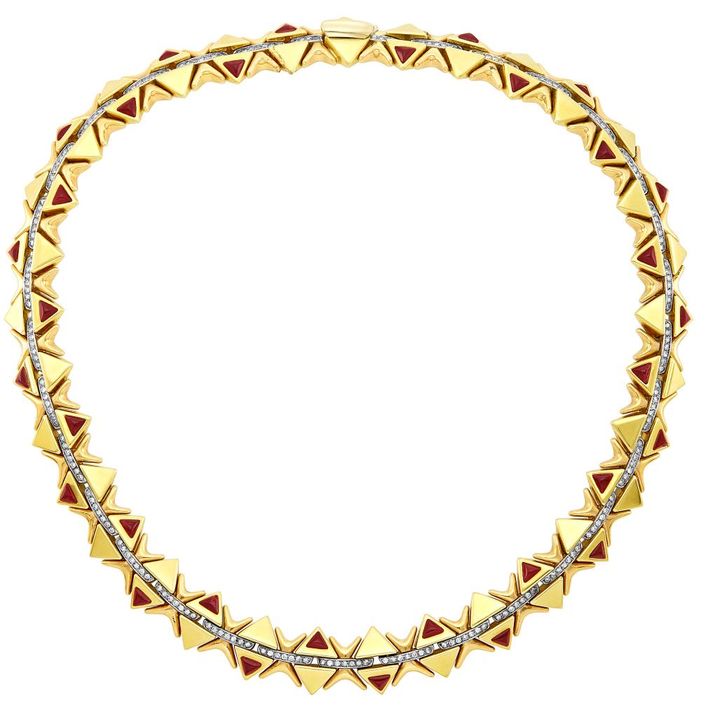 Tricolor Gold, Diamond and Cabochon Ruby Necklace