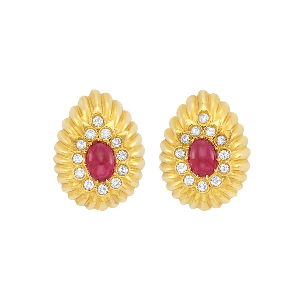 Pair of Gold, Cabochon Ruby and Diamond Earrings