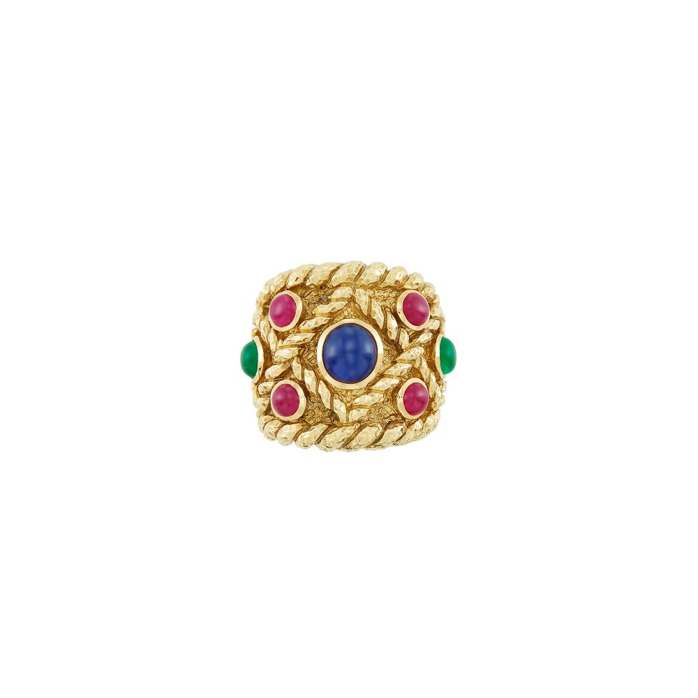 Wide Gold and Cabochon Gem-Set Ring, David Webb