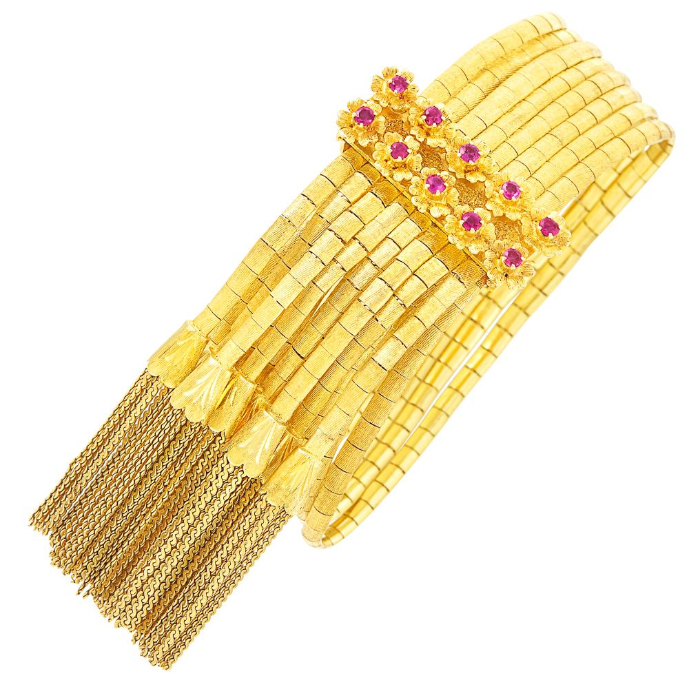 Eight Strand Gold and Ruby Fringe Slide Bracelet