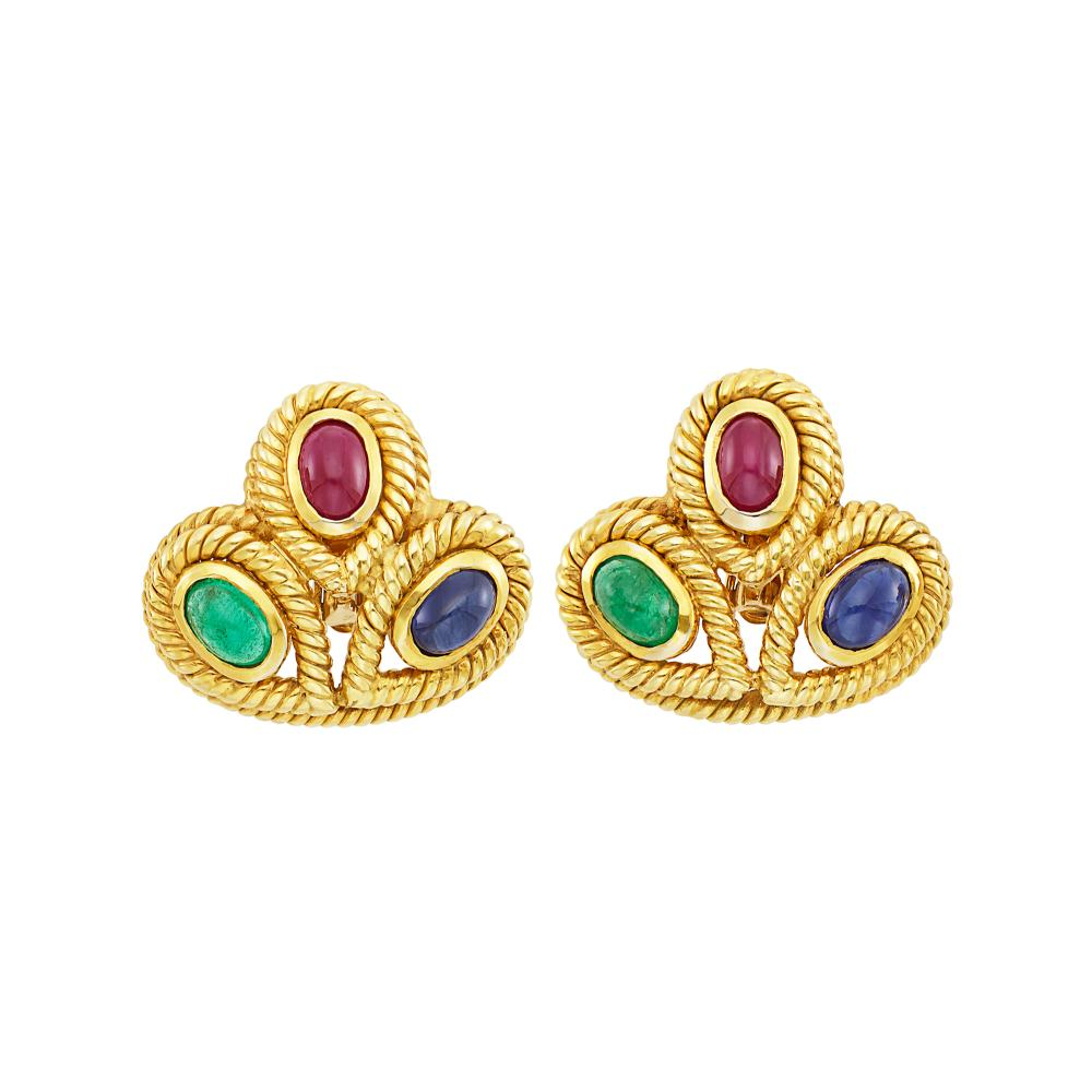 Pair of Gold and Cabochon Colored Stone Earclips