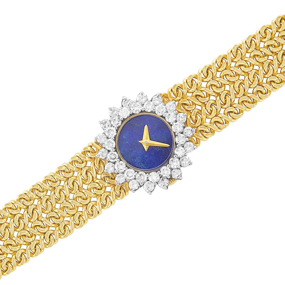 Two-Color Gold, Lapis and Diamond Wristwatch, Hammerman Brothers, Retailed by Cartier
