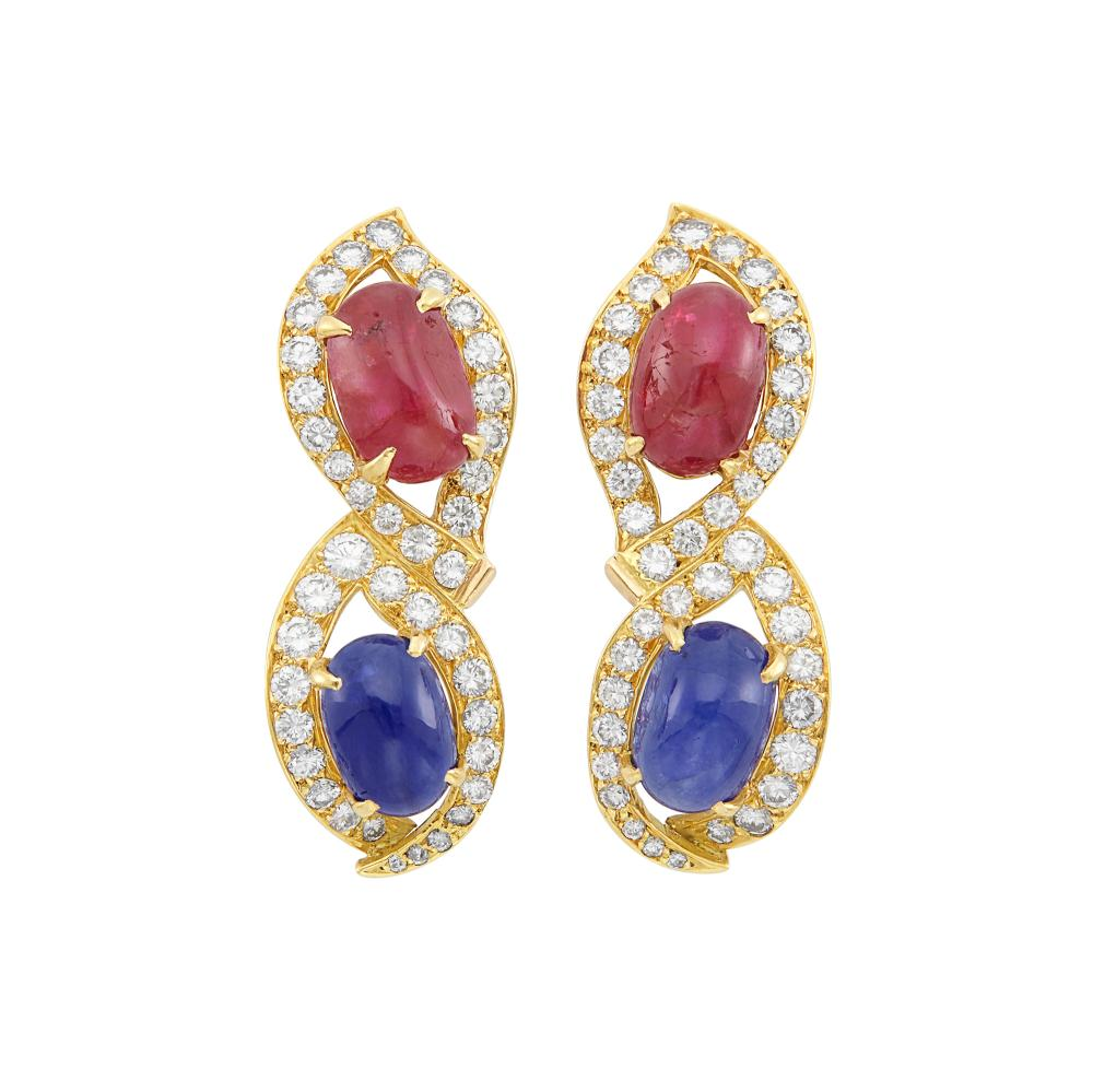 Pair of Gold, Cabochon Sapphire, Ruby and Diamond Earclips