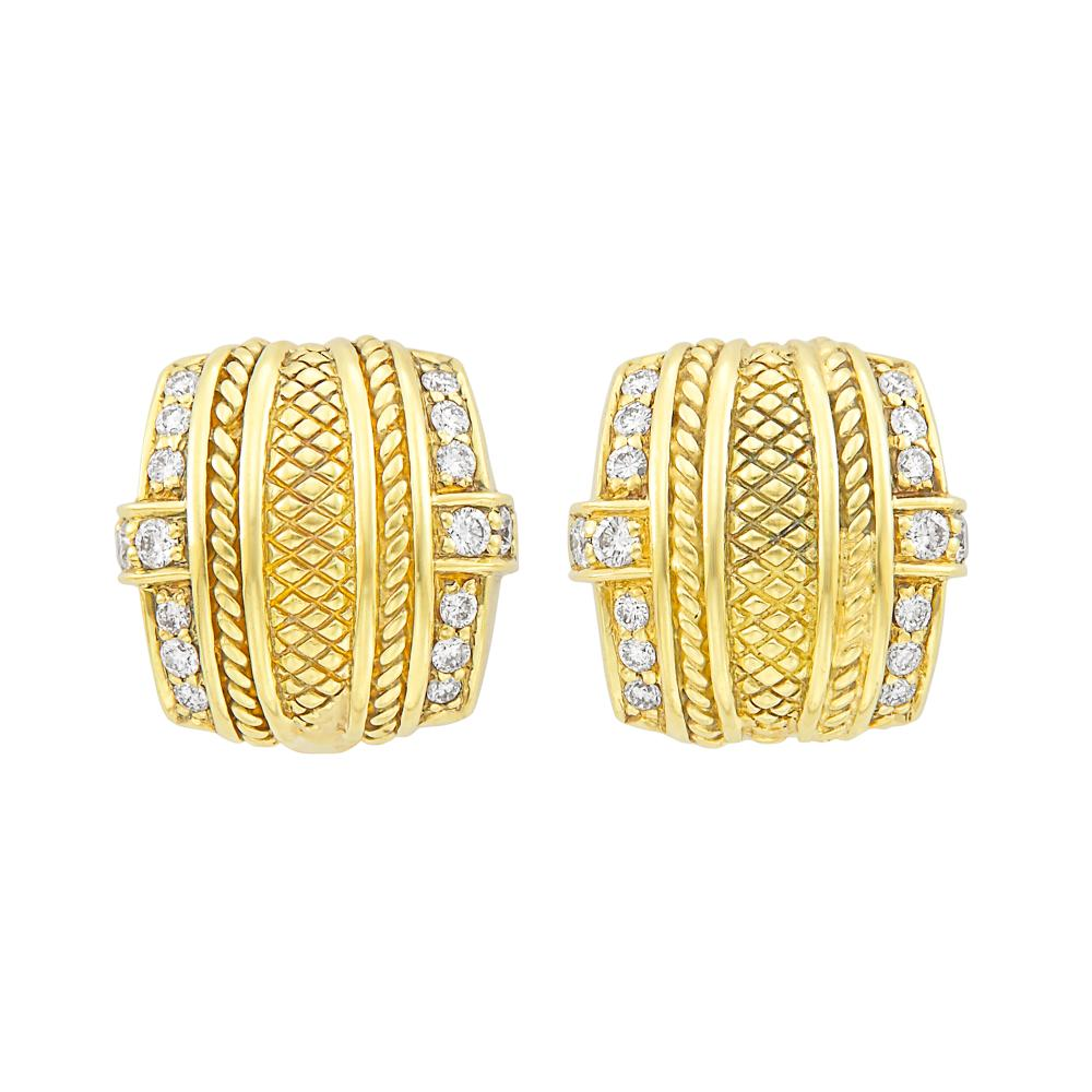 Pair of Gold and Diamond Earrings, Judith Ripka