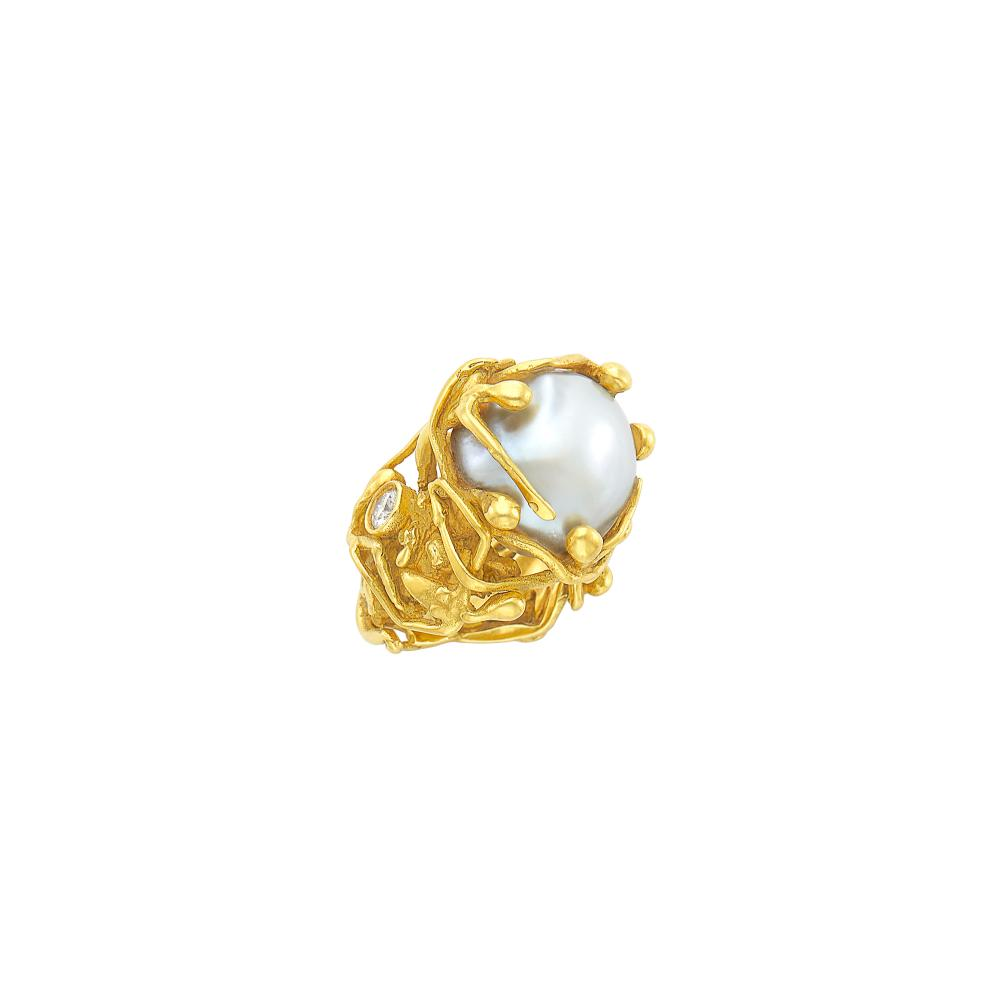 Gold, Baroque Cultured Pearl and Diamond Figural Ring
