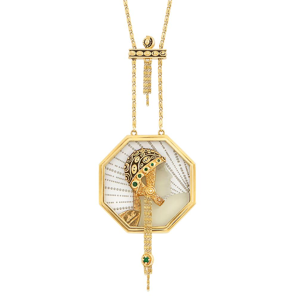 Gold, Rock Crystal and Emerald 'Wings of Victory' Pendant-Necklace, Erté