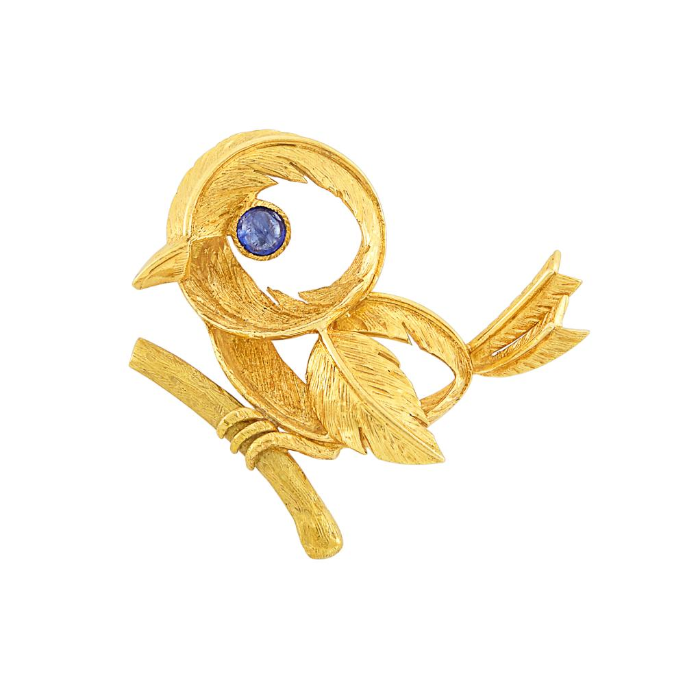 Gold and Cabochon Sapphire Bird Clip-Brooch, Hermès, Paris