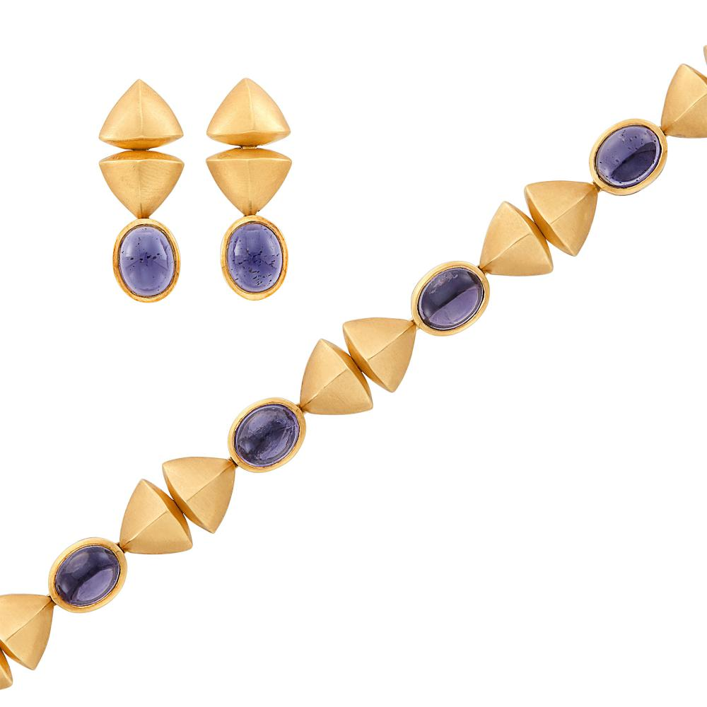 Gold, Cabochon Iolite Bracelet and Pair of Pendant-Earrings
