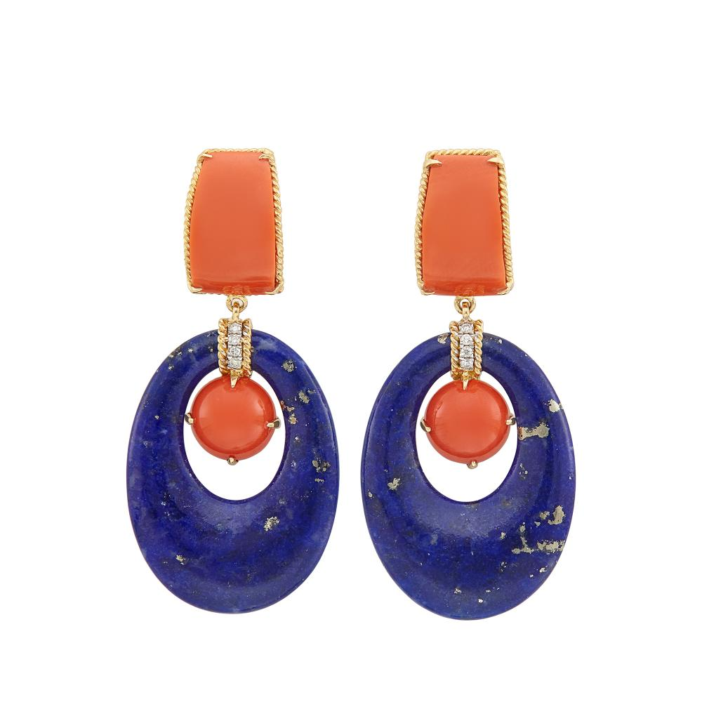 Pair of Gold, Lapis, Coral and Diamond Pendant-Earclips