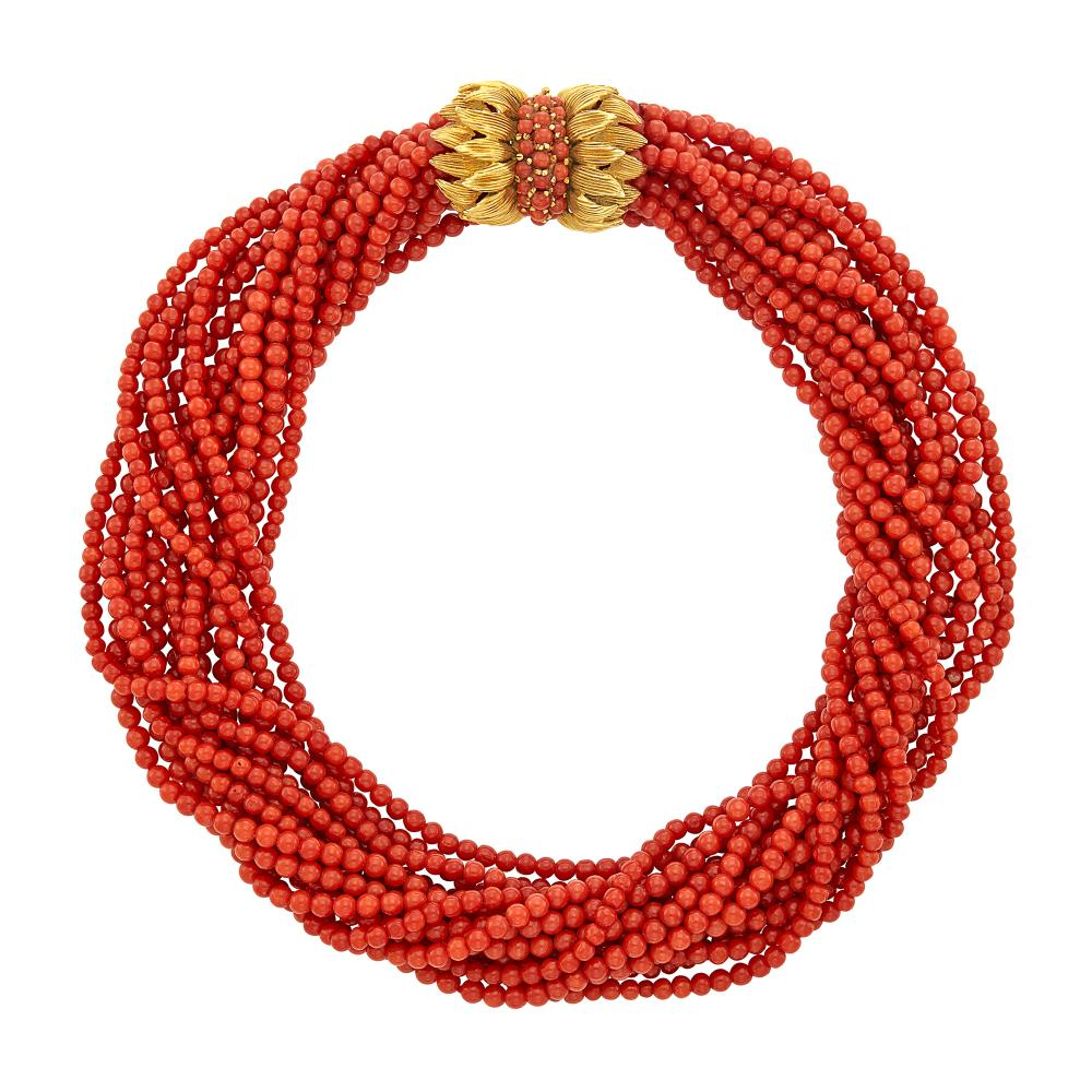 Fourteen Strand Coral Bead Torsade Necklace with Gold and Coral Clasp