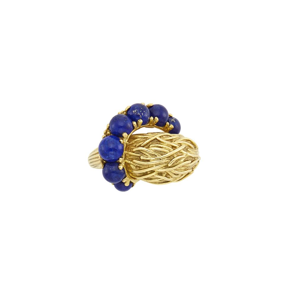 Woven Gold and Lapis Bombé Ring, Pomellato