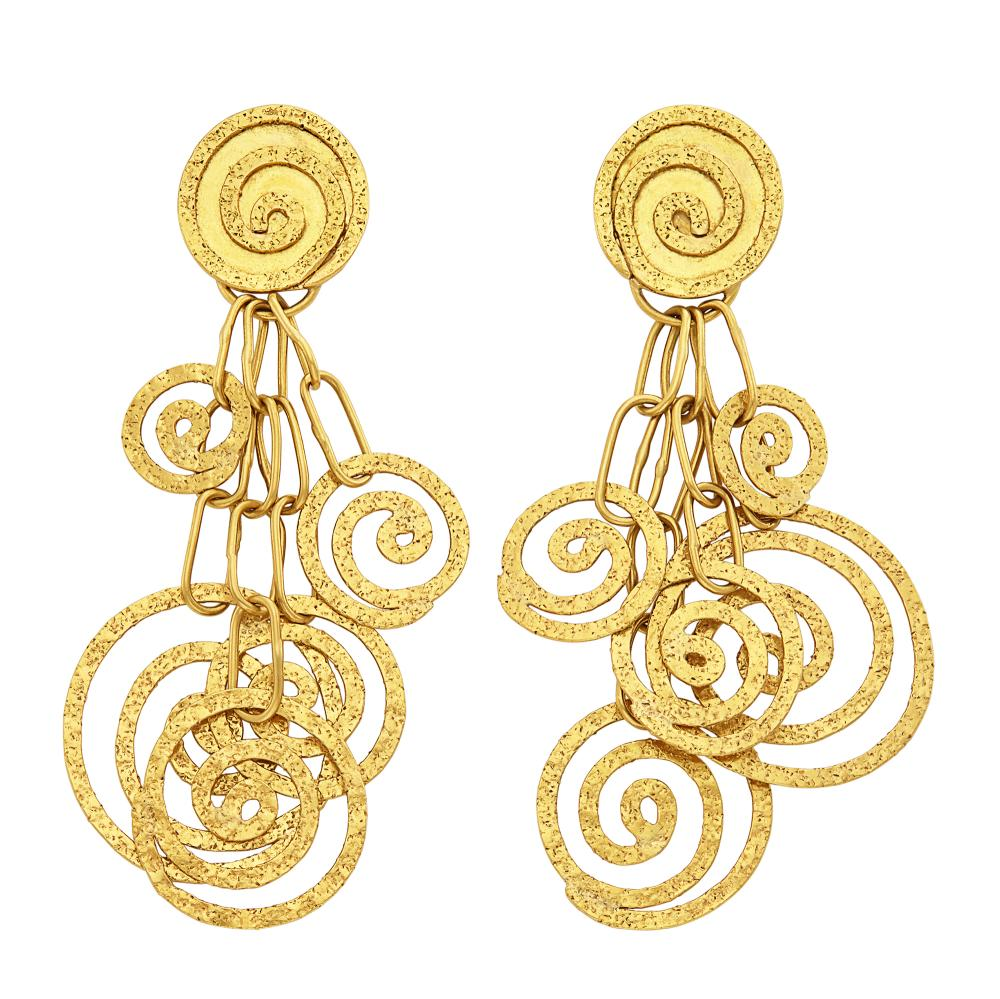 Pair of Gold Pendant-Earrings