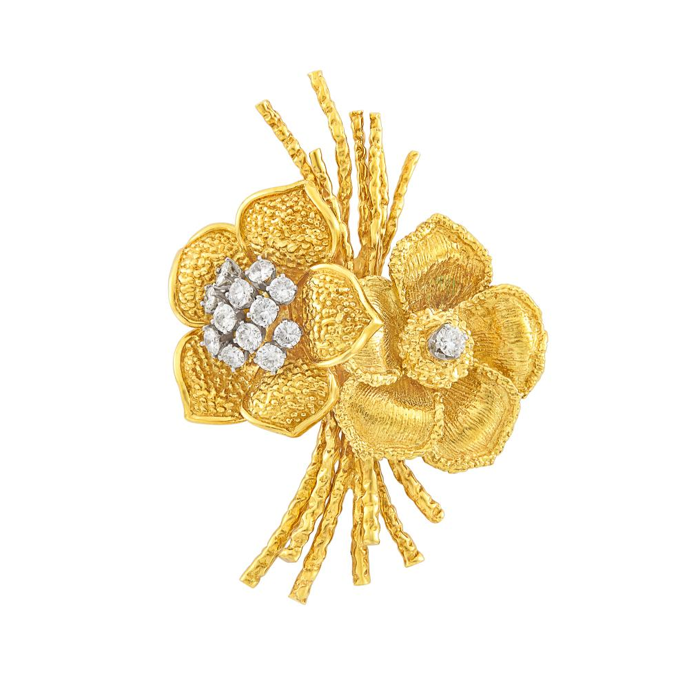 Gold and Diamond Double Flower Brooch