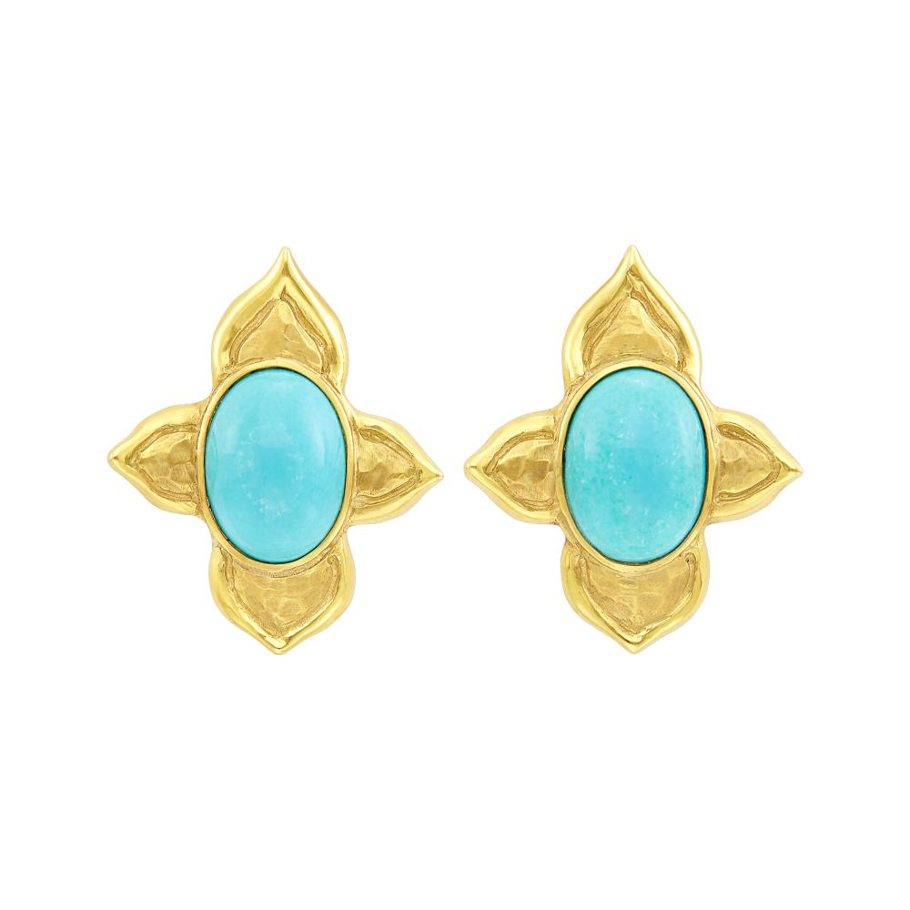 Pair of Gold and Turquoise Flower Earclips