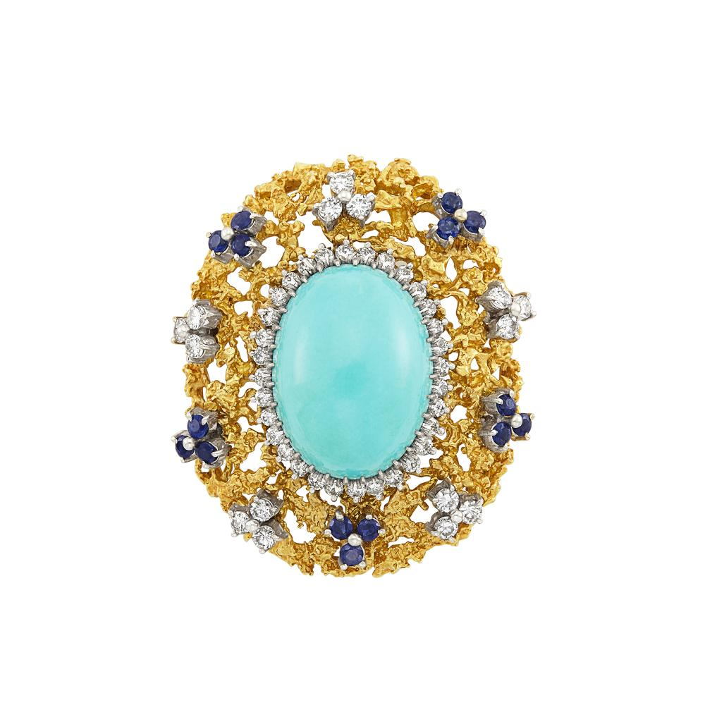 Two-Color Gold, Turquoise, Diamond and Sapphire Brooch