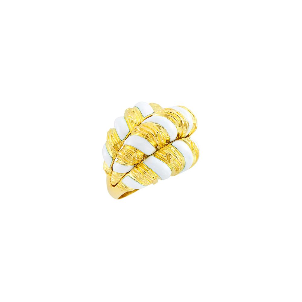 Gold and White Enamel Bombé Ring, David Webb