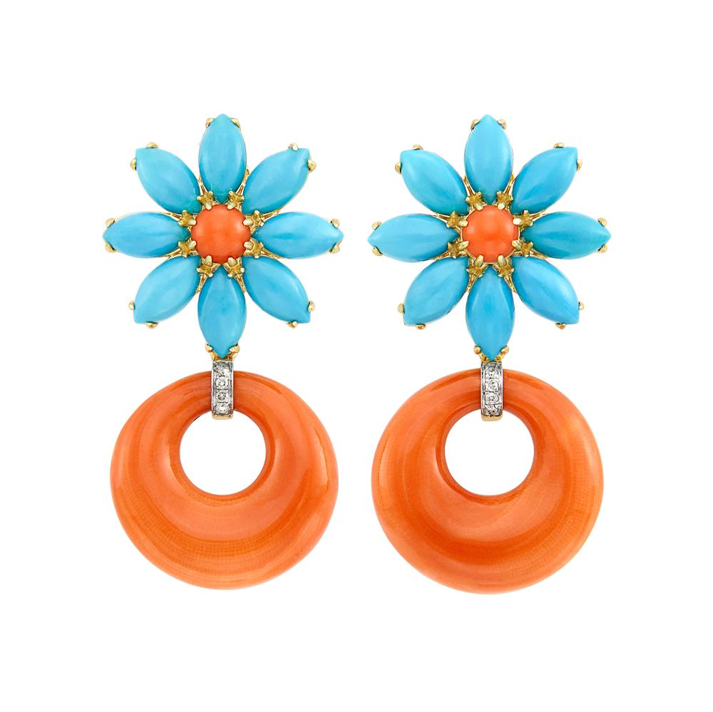Pair of Gold, Coral, Turquoise and Diamond Flower Hoop Pendant-Earclips