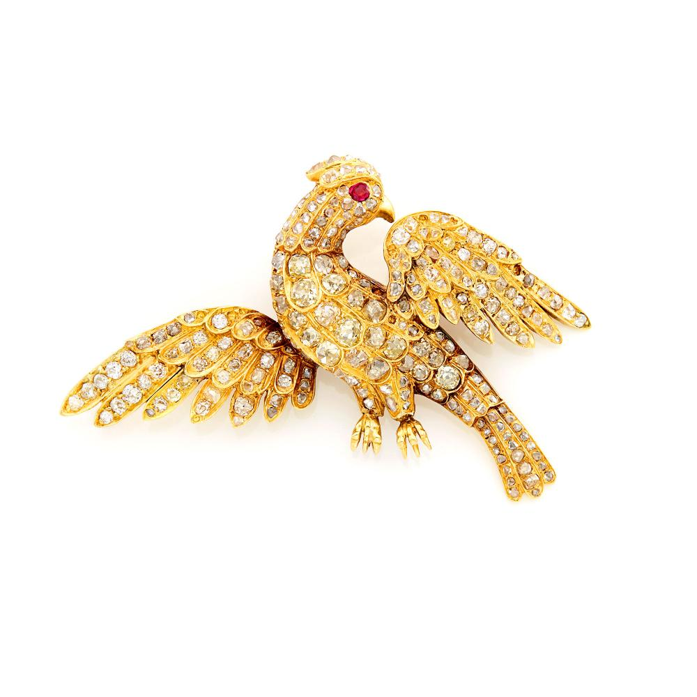 Gold, Diamond and Ruby Bird Brooch, France