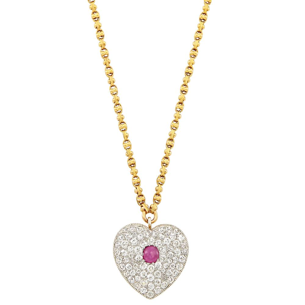 Antique Platinum, Gold, Star Ruby and Diamond Pendant-Brooch with Gold Chain