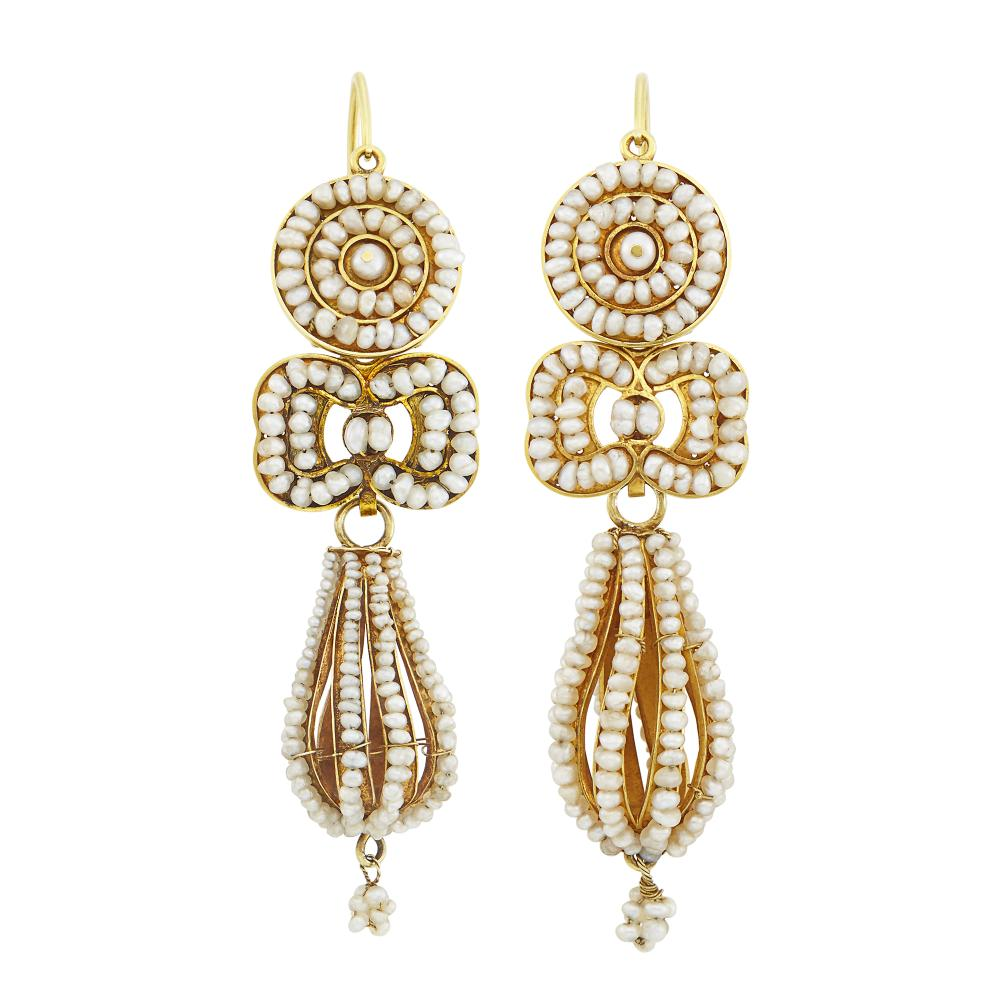 Pair of Antique Gold and Seed Pearl Pendant-Earrings
