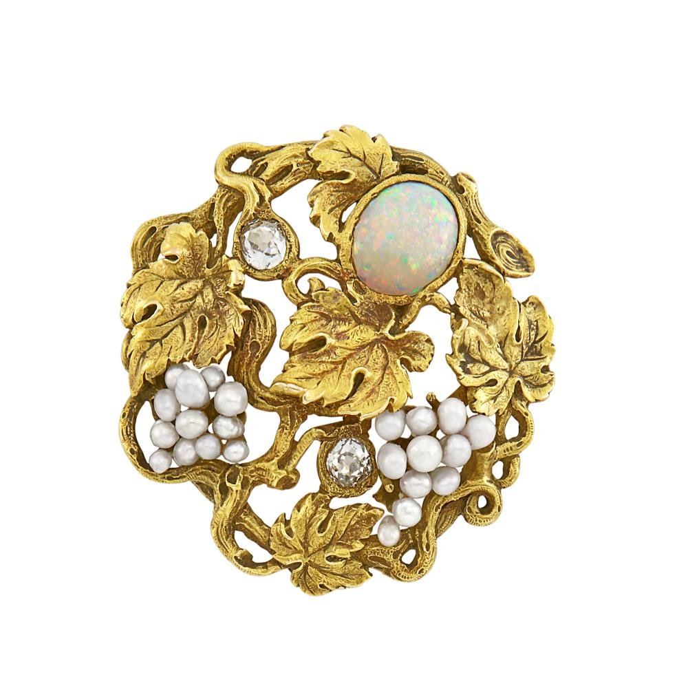 Arts and Crafts Gold, Opal, Seed Pearl and Diamond Grapevine Brooch, F.W. Lawrence