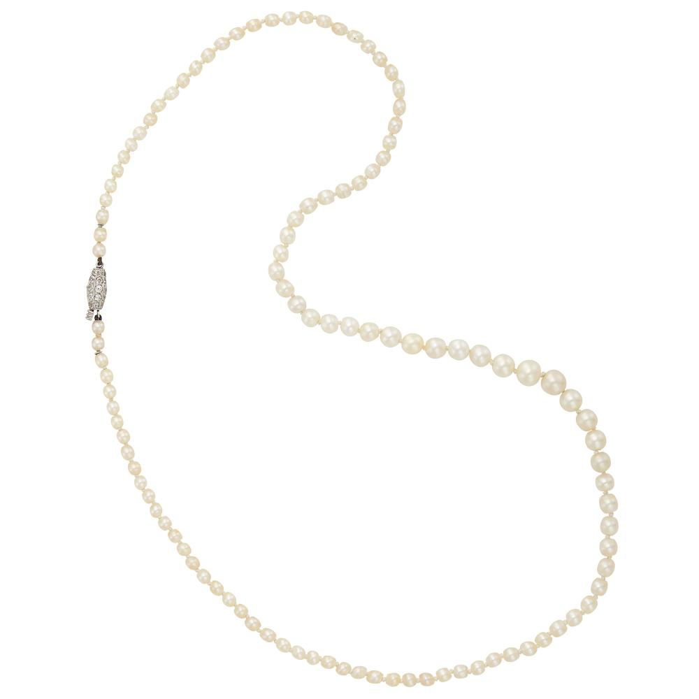 Natural Pearl Necklace with Platinum and Diamond Clasp