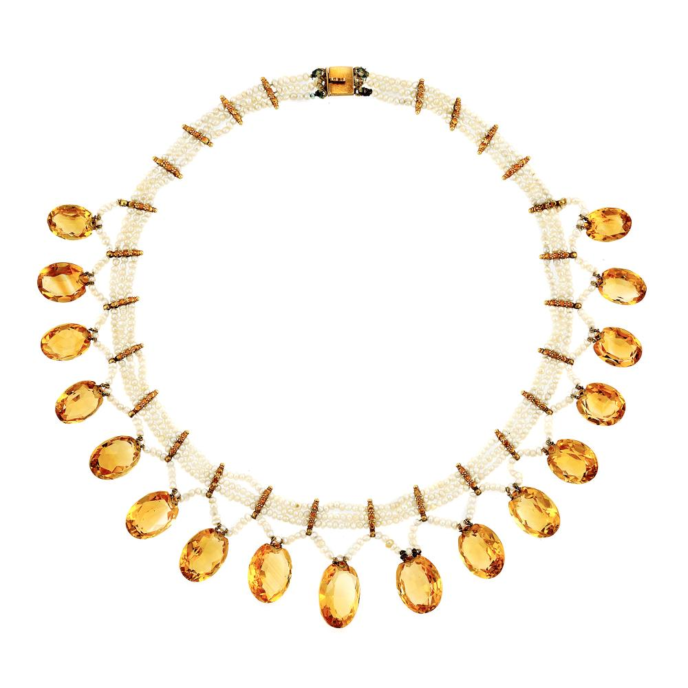 Triple Strand Seed Pearl, Gold and Citrine Fringe Necklace