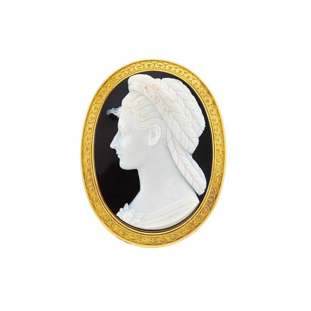 Antique Gold and Agate Cameo Pendant-Brooch, Luigi Rosi