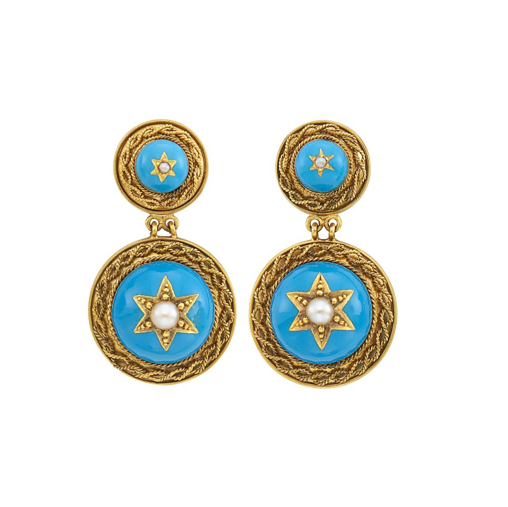 Pair of Antique Gold, Turquoise Enamel and Split Pearl Pendant-Earrings