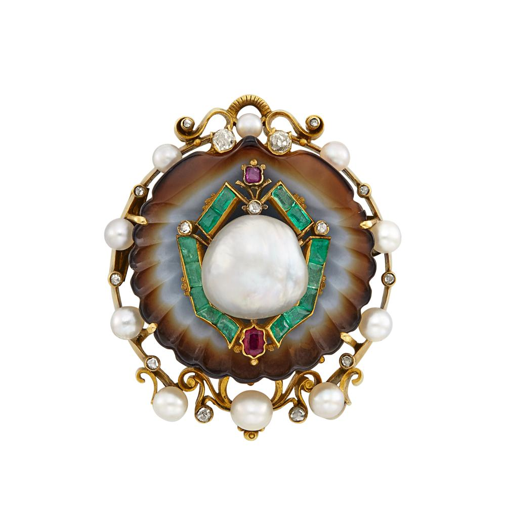 Antique Gold, Carved Agate, Baroque Pearl, Ruby, Emerald and Diamond Brooch