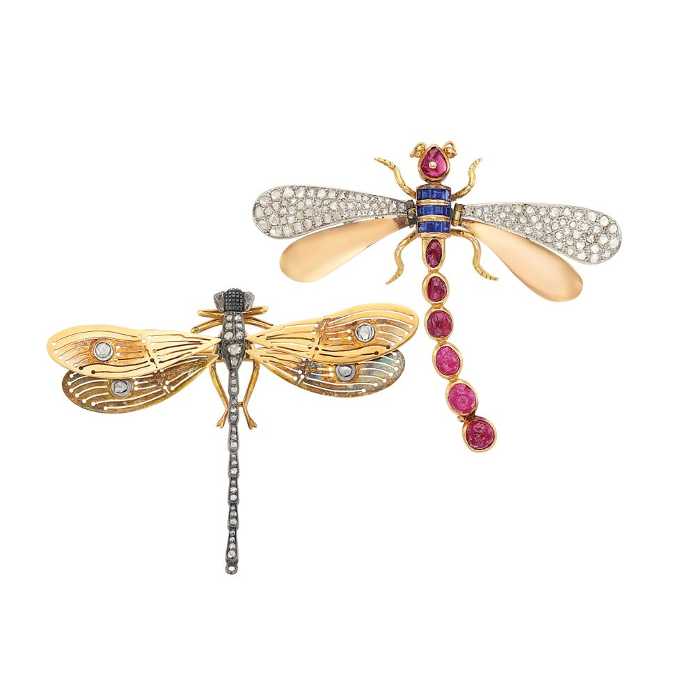 Antique and Retro Gold, Platinum, Silver, Cabochon Ruby, Sapphire and Diamond Dragonfly Brooches