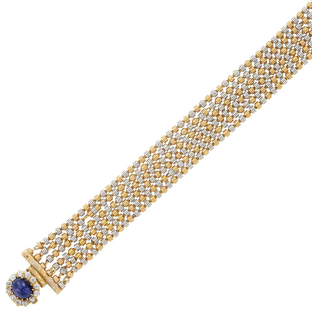 Antique Six Strand Gold, Platinum, Cabochon Sapphire and Diamond Bracelet