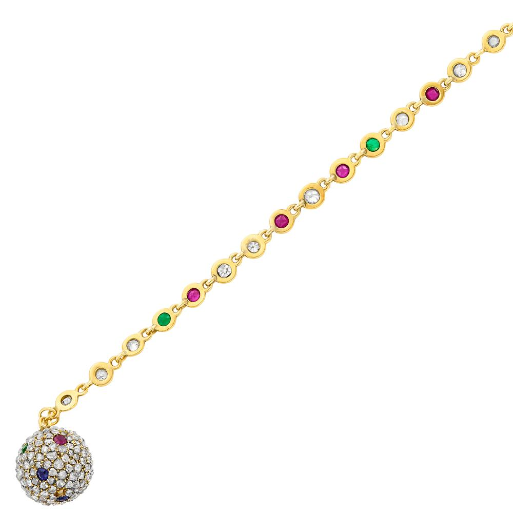 Gold, Diamond and Gem-Set Bracelet with Antique Ball Charm