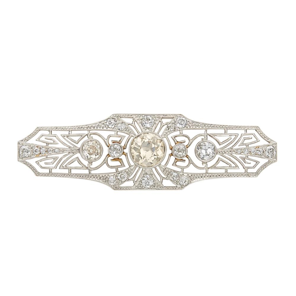 Platinum, Colored Diamond and Diamond Brooch