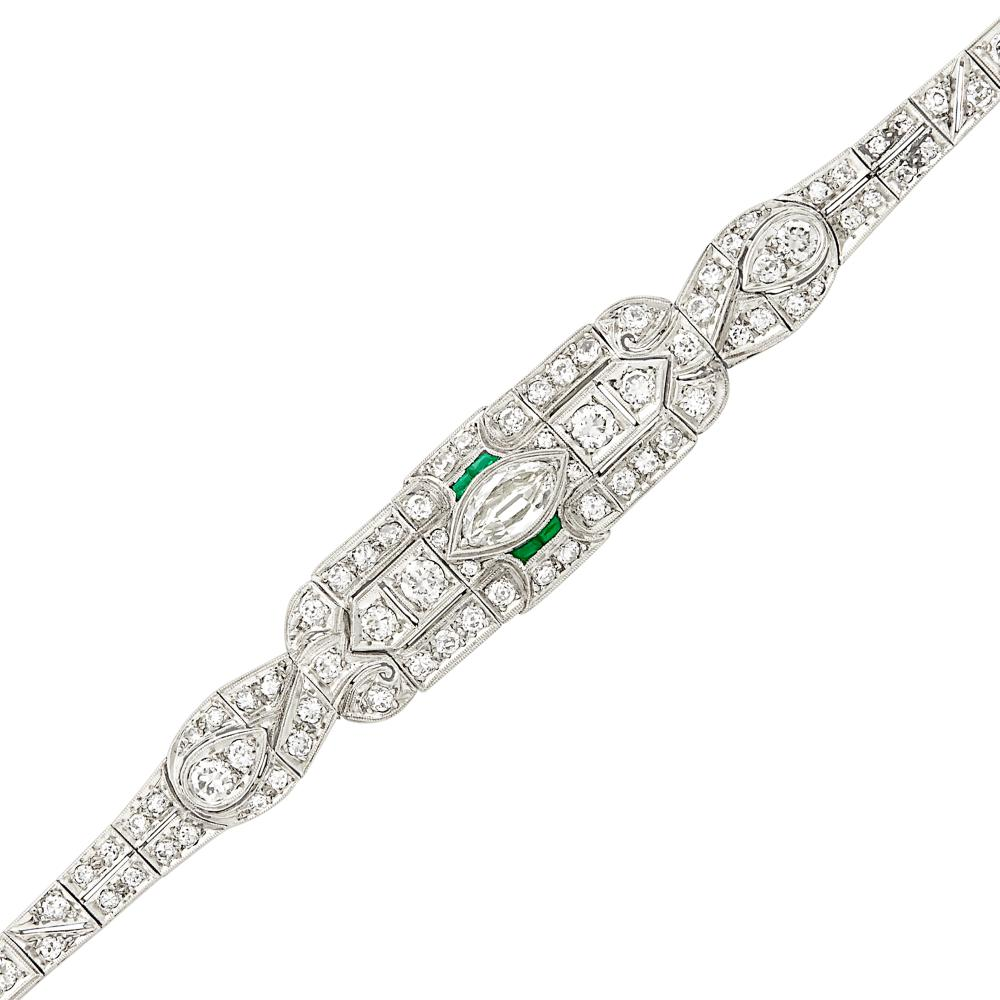 Platinum, Diamond and Simulated Emerald Bracelet