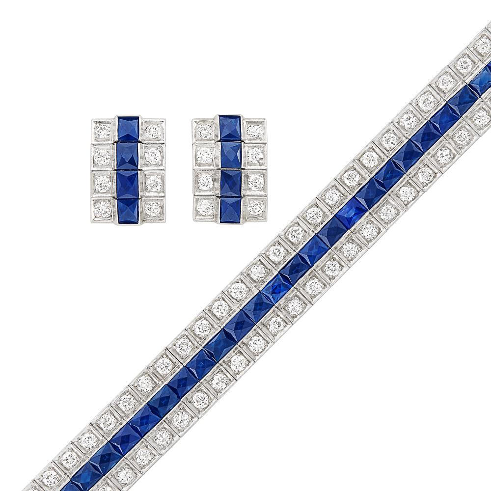 Platinum, Diamond and Sapphire Bracelet and Pair of Earclips