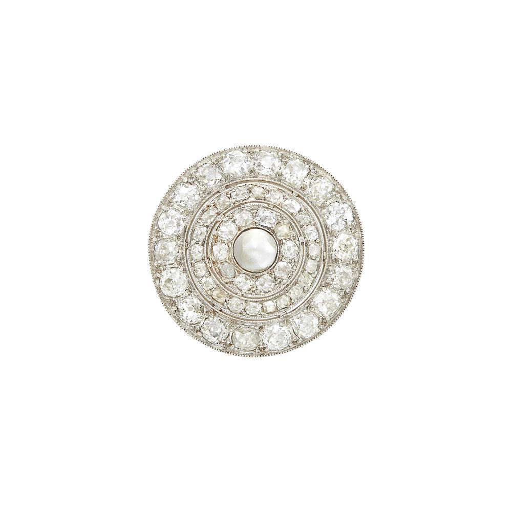 Belle Époque Platinum, Diamond and Button Pearl Brooch