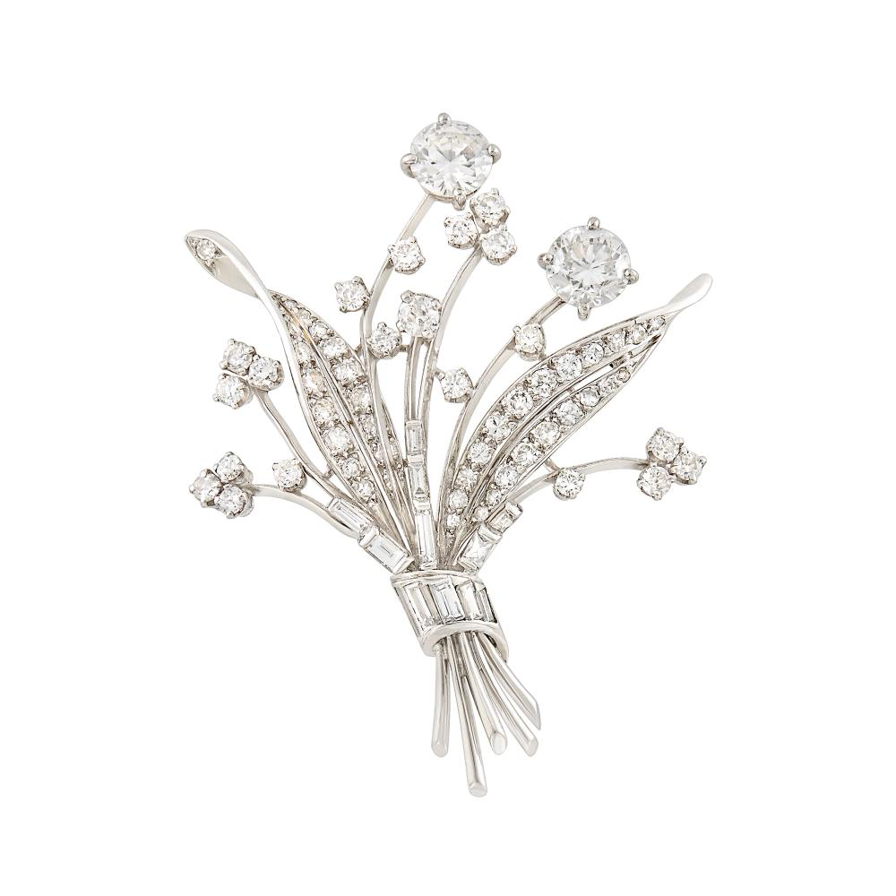 Platinum, Simulated Diamond and Diamond Bouquet Brooch