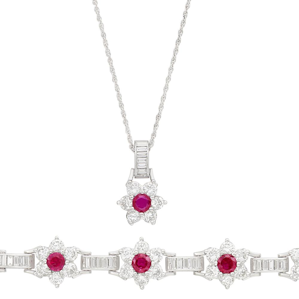 Platinum, Ruby and Diamond Bracelet and Pendant with White Gold Chain