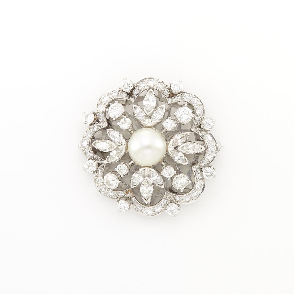 Platinum, Cultured Pearl and Diamond Brooch