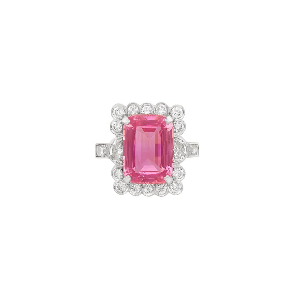 Platinum, Pink Topaz and Diamond Ring