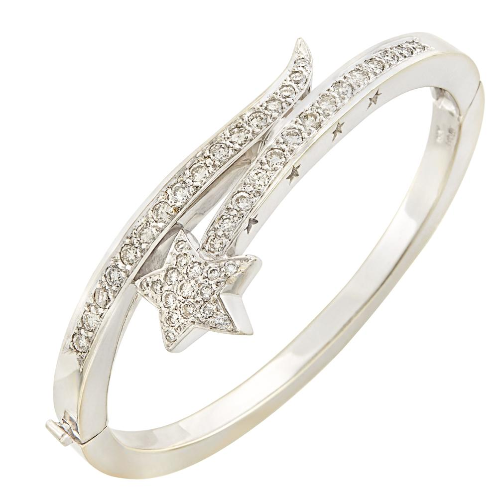 White Gold and Diamond Shooting Star Bangle Bracelet